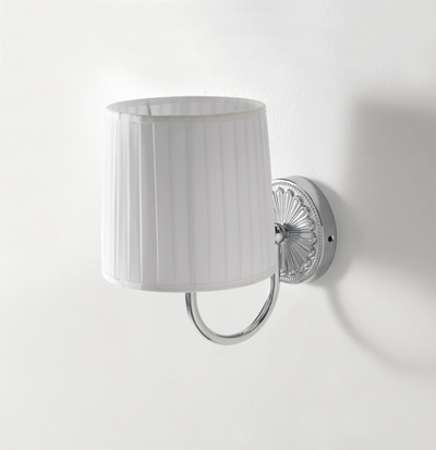 chromed wall lamp with white lampshade 18x26x24