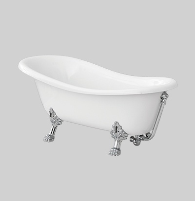 white bathtub chromed accessories 170x80 h 72